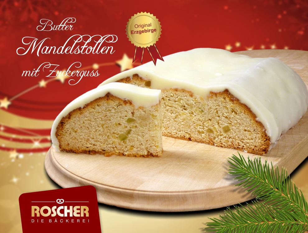 Buttermandelstollen mit Zuckerguss 1250g