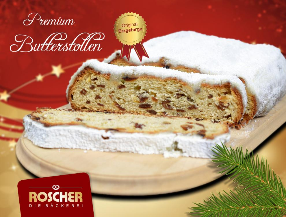 Premium-Butterstollen mit Dekorpuder 1250g